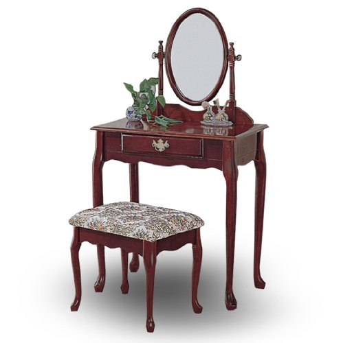 2 Drawer Cherry Bench - Cherry Wood Queen Anne Vanity with Table & Bench Set