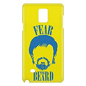 Loud Universe Samsung Galaxy Note 4 3D Wrap Around Fear The Beard Print Cover - Yellow
