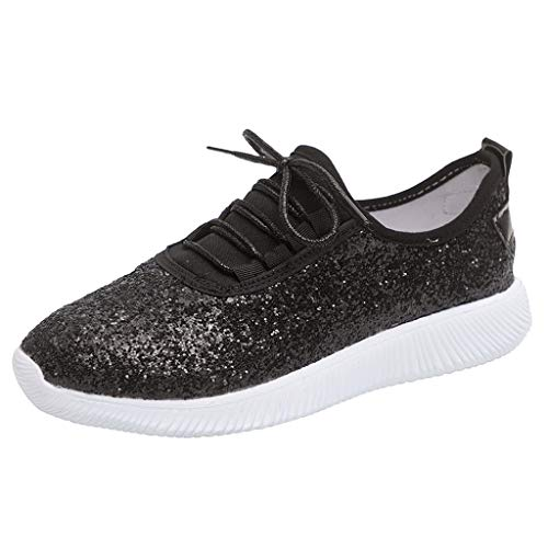 Sunyastor Sneakers for Women Shoes Slip On Walking Lace up Shoes Sequined Lightweight Casual Breathable Running Sneakers Black