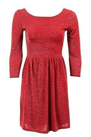 FANTASIA Damen Skater Kleid 3/4 Ärmel Lurex Glänzend Tiefer Rücken  Plissiert Kurz Größe 36 - 42: Amazon.de: Bekleidung