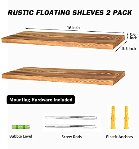 Set of 2 Rustic Floating Solid Wood Shelves Wall Mounted Farmhouse Wooden Shelf with Invisible Brackets Storage Rack…