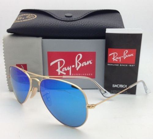 Ray-ban Men's and Women's Sunglasses MOD/Rb3025 112/17 Gold Frame Blue Mirror Lens Aviator 58mm Made in Italy