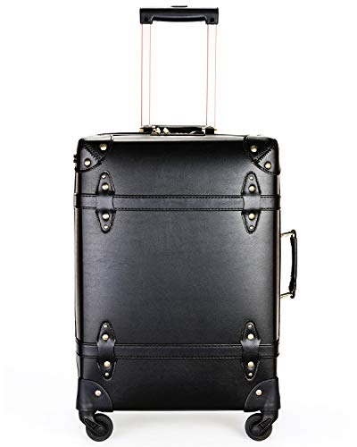 Vintage Luggage Carryon Suitcase Travel - HoJax Classic Trolley Luggage with Spinner Wheels, TSA Lock, Lightweight, 20 inch, Black