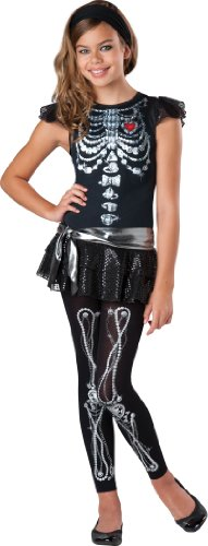 InCharacter Costumes Tween Skeleton Bling, Silver/Black, Large