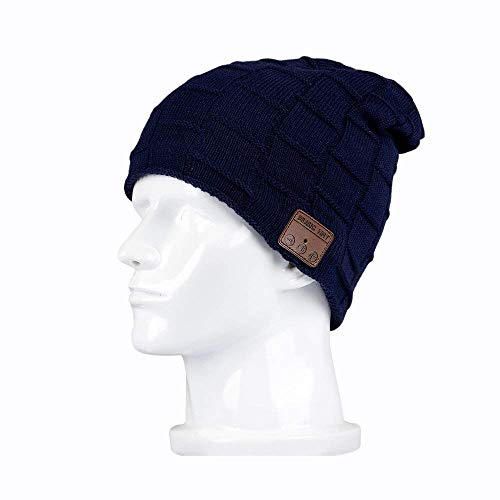 Bluetooth Beanie Hat, BearsFire Winter Outdoor Premium Knit Cap with Wireless Stereo Headphone Headset Earphone Speaker Mic Hands Free for Iphone Samsung Android Cell Phones,Christmas Gifts(Dark blue)