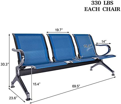 Kintness 3 Seat Waiting Room Chair Airport Reception Chairs with Arms Reception Bench Seat Lobby Chairs for Salon Business Office Hospital Bank Airport