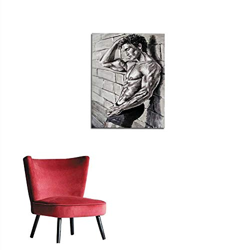 longbuyer Photo Wall Paper Black and White Abstract Nude Male Man is Standing by Wall Original Oil Painting on Canvas - Colorful Sexy Body Painting - Modern Impressionism Art Mural 20