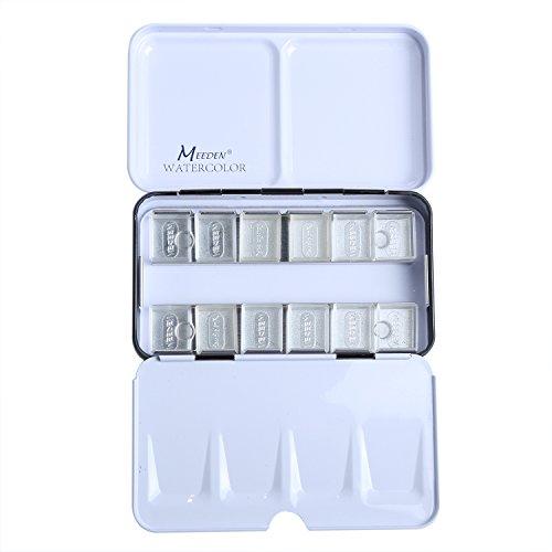 - MEEDEN Empty Watercolor Tins Palette Paint Case Metal Box with 12 Transparent Half Pans