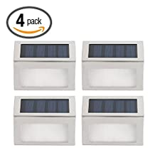Hoont Pack of 4 - Outdoor Stainless Steel LED Solar Step Light; Illuminates Stairs, Deck, Patio, Etc