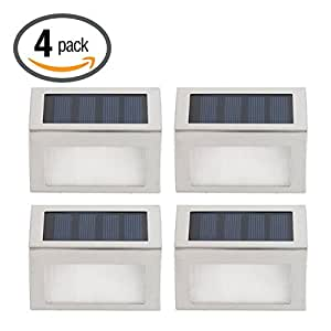 KingYuan Upgrated Solar Powered Stainless Steel Staircase LED Solar Step Lights, Solar Dock Light White Light Pack of 4