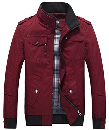 Olrek Men's Autumn and Fall Stand Colllar Outerwear Jacket Coat(Red,Large) - Red Mens Coat