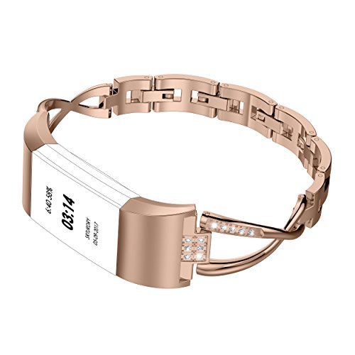 Bangle Mens Bands (For Fitbit Charge 2 Bands Metal, Wearlizer Replacement Bangle/Bracelet/Assesories/Straps/Wrist Band for Fitbit Charge hr 2 Women Small Large Silver Rose Gold Black)