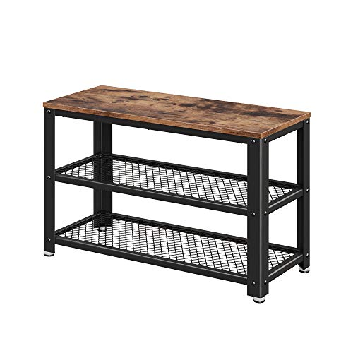 VASAGLE Industrial Shoe Bench, 3-Tier Shoe Rack, Storage Organizer with Seat, Industrial, Wood Look Accent Furniture with Metal Frame, for Entryway, Living Room, Hallway ULBS73X Bench Extra Thick Wood