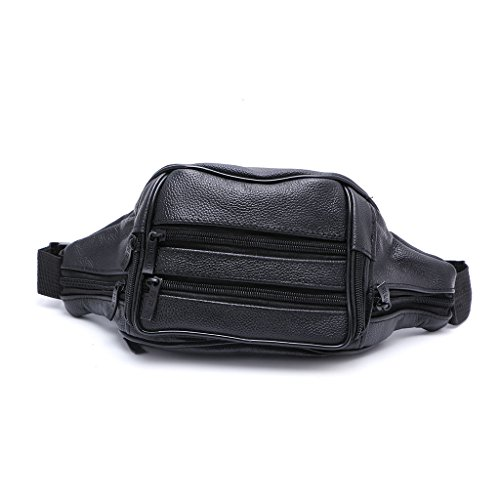 Best-topshop Leather Waist Bag with Zipper for Women Men, 7 Compartments Travel Camp Fashion Casual Pouch Purse for Shopping Party School Outdoor