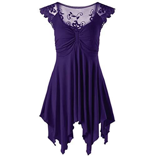Women's V Neck Sleeveless Dress TANGSen Ladies Casual Plus Size Fashion Lace Irregular Solid Loose Top Shirt Dress S-5XL Purple