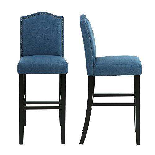 - LSSBOUGHT Nailhead Barstools with Solid Wood Legs, Set of 2 (Blue)