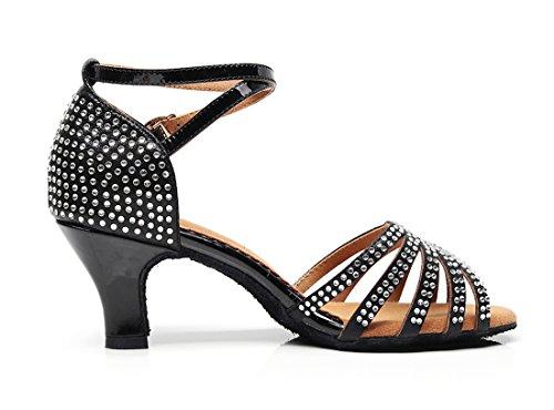 Rumba Toe MGM Shoes Tango Synthetic Sandals Strap Heel Evening Party Wedding Ballroom Black Women's Corss Joymod Cut Samba Out 6cm Peep Rhinestones Prom Modern Dance Formal Latin Salsa wwUrtOqf