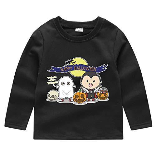 Toddler Kids Long Sleeve T-Shirt,Crytech Baby Boy Girls Trick Or Treat Pumpkin Ghost Skull Print Pullover Sweatshirt Halloween Theme Costume Fall Winter Tee Shirts (3-4 Years, Black)