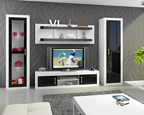 (Furniture.Agency Verin 4-Piece TV Set Led Multiple Finishes White/Black Gloss)
