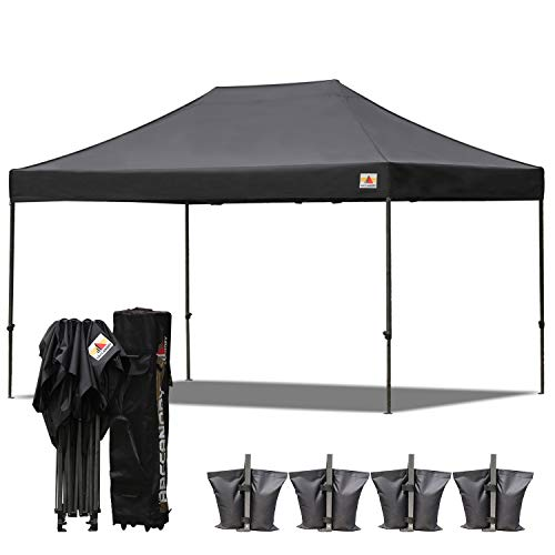 ABCCANOPY 10x15 Pop up Tent Instant Canopy Commercial Outdoor Canopy with Wheeled Carry Bag Bonus 4X Weight Bag (Black)