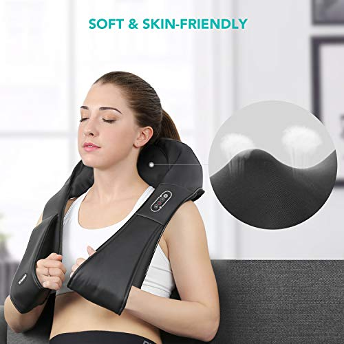 Heated deep-kneading massager for neck and back