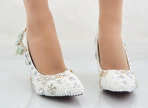 Ycmdm Donne cristallo Handmade Scarpe da sposa Ultra - con i pattini Rice piattaforma impermeabile bianco perla fiori diamante fiore singolo , white , 36