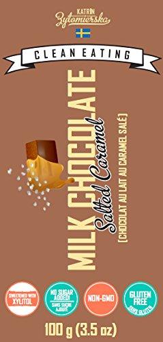 KZ Clean Eating - Salted Caramel Milk Chocolate Bar - 100g (3.5oz) - Low Carb Sugar Free Gluten free Swedish 100g Chocolate Bar