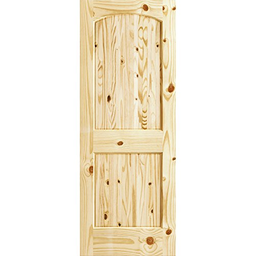 Two Panel Knotty Pine Arch-top V-Groove Door, Knotty Pine, 32