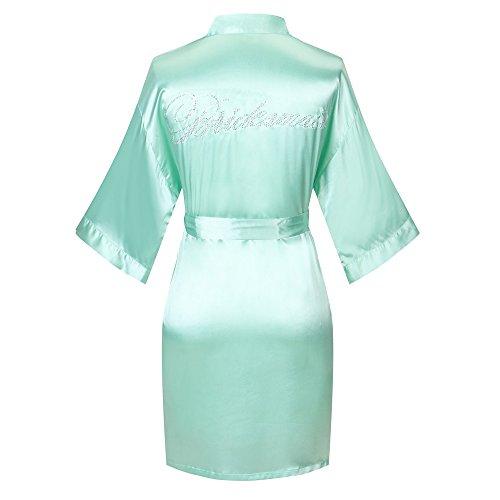 Joy Bridalc Satin Wedding Robes with Clear Rhinestones-Bride&Bridesmaid Edition Short Kimono, Jade XS
