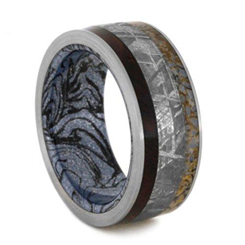Gibeon Meteorite, Honduran Rosewood Burl, Dinosaur Bone 9mm Comfort-Fit Titanium Wedding Band, Size 10 by The Men's Jewelry Store (Unisex Jewelry)