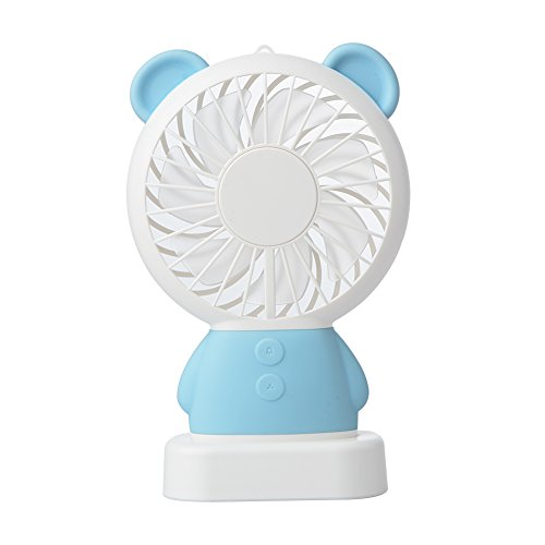 Handheld Fan, Cute Bear USB Rechargeable Fan, 2 Adjustable Speeds Personal Necklace Fan with Multi-Color LED Light for Indoor or Outdoor Activities (Blue) by Mokylor