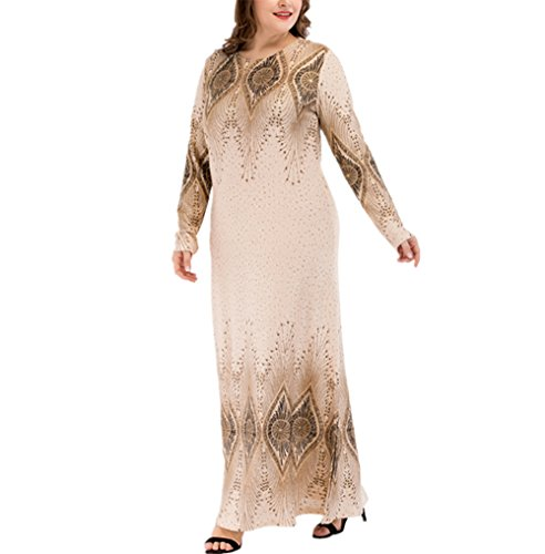 zhbotaolang Women Muslim Long Sleeve Plus Size Maxi Dress Arabic Abaya