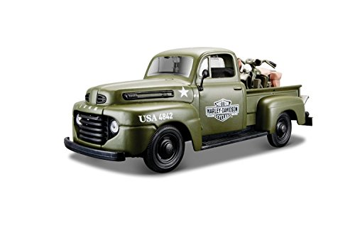 Harley Davidson - 1948 Ford F-1 Pickup Truck in Flat Green Hauling a 1942 Harley Davidson WLA Flathead, Constructed of diecast metal with some plastic parts ()