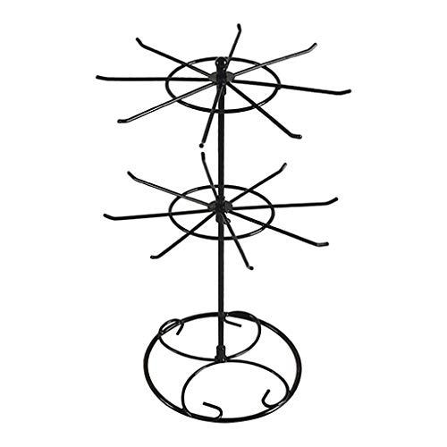 Jili Online Rotating Iron 2-Tier Revolving Stand Rack Jewelry Holder Display with 16 Hooks - Black