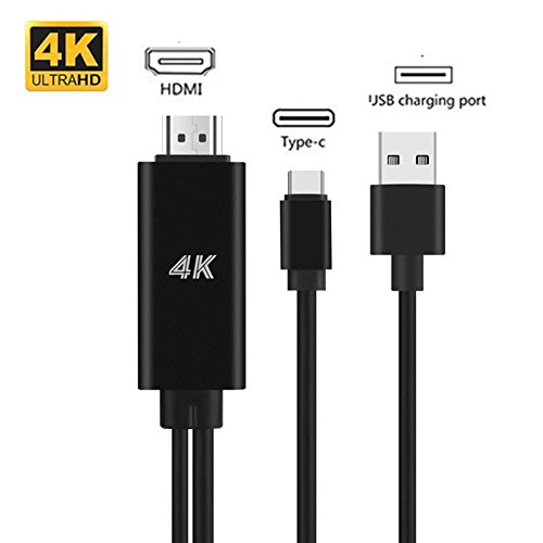 USB C to HDMI Cable Adapter,Zoyce 2 in 1 4K USB 3.1 Type-C to HDMI Converter with Power Charger Cord for 2017/2016 MacBook Pro, iMac, Galaxy s9, Note 8, S8, ChromeBook Pixel by Zoyce