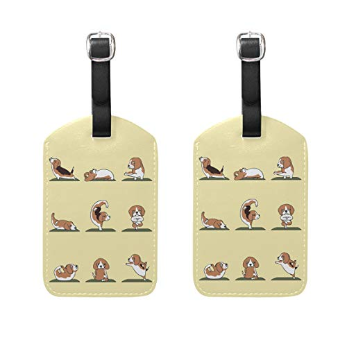 Beagle Yoga Luggage Tag Travel ID Label Leather for Baggage Suitcase 2 Piece Set