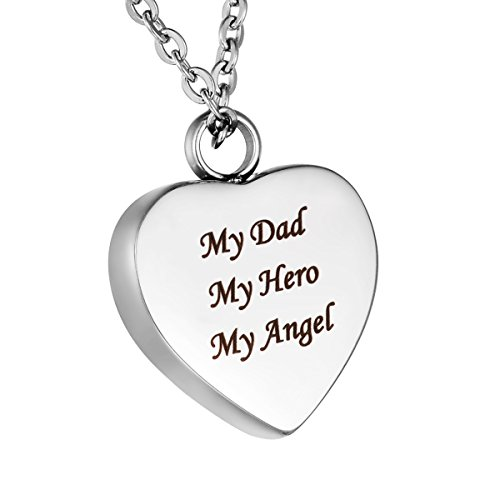 HooAMI 'My Dad My Hero My Angel' Cremation Jewelry Urn Necklace Pendant