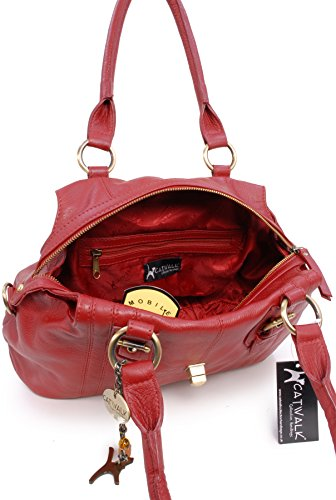 Sac Fermeture Catwalk Collection à lock Kate en main twist cuir Rouge signé rqrwZ6