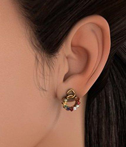 14K Or jaune 0,14CT TW White-diamond (IJ   SI) et Navaratna Boucles d'oreille à tige