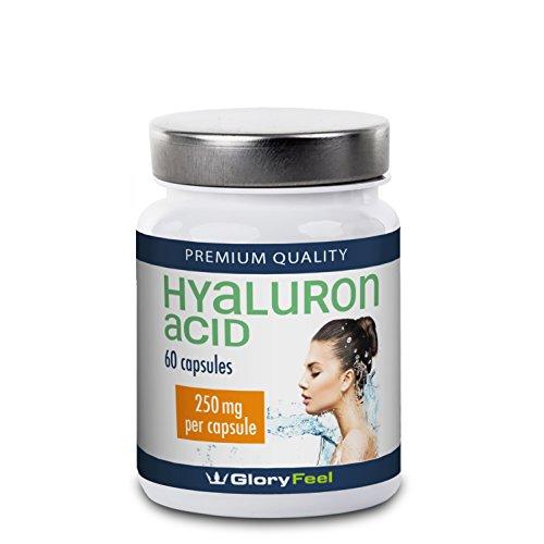 Hyaluronsäure Kapseln - NEUE FORMEL: 250mg Hyaluron pro Kapsel Hochdosiert und Rein - Haut + Anti-Aging + Gelenke - 100% Natürlicher Hyaluronsaeure-Komplex - 60 vegane Hyaluron-Kapseln