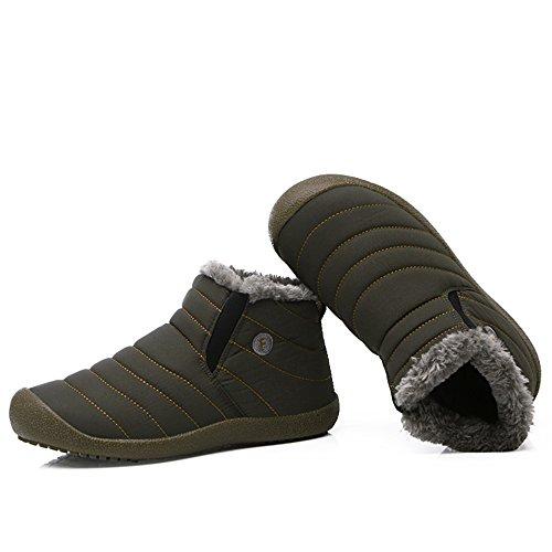 Vilocy Mens Donna Inverno Impermeabile Caldo Foderato In Pelliccia Foderato Da Neve Antiscivolo Slip On Top Top Grigio-alto Top