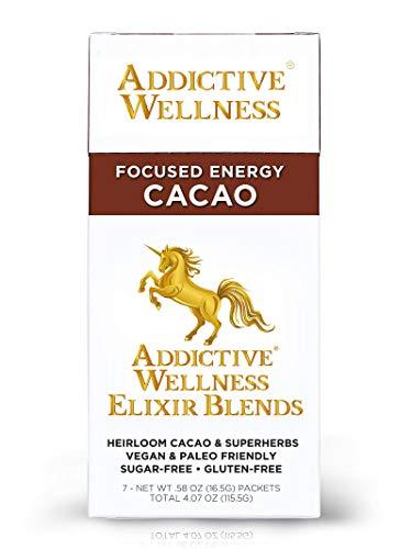Addictive Wellness Elixir Blends - CACAO Sugar-Free Superherb Drink Mix Box (7 Packets))