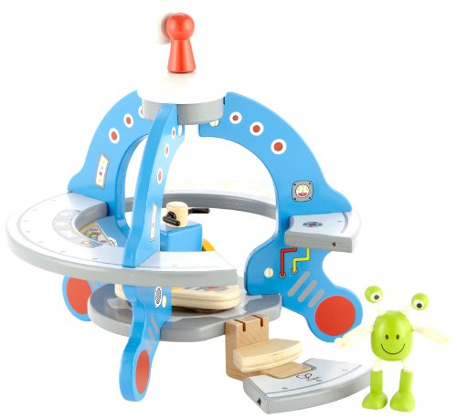 Hape Wooden UFO Playset with Friendly Alien and Accessories ()