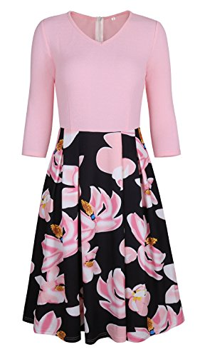 Coswe Women's Classic Dress 3/4 Sleeve Vintage Patchwork Casual Party Dress with Pockets (XL, Pink) -