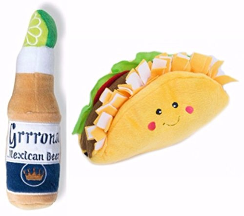 Taco Dog Toy and Beer Bottle Dog Toy with 6 Replacement Squeakers Bundle, Toys for Small or Medium Dogs (1 ZippyPaws Taco, 1 Haute Diggity Dog Grrrona Beer, 6 Magic Luna Replacement 35mm Squeakies)