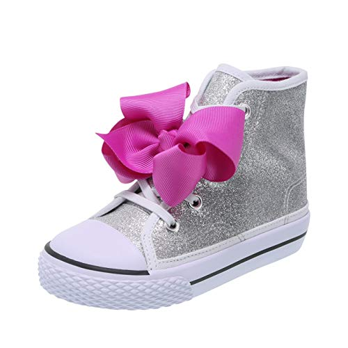 Nickelodeon Shoes JoJo Siwa Silver Glitter Girls' Toddler JoJo Legacee High-Top Sneaker 10 Regular]()