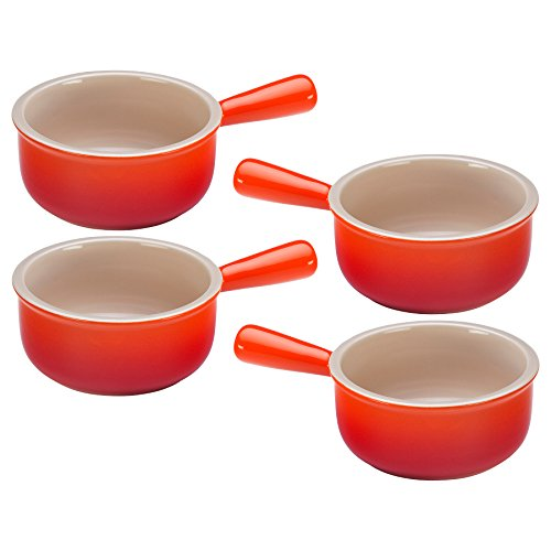 Orange French Bowl Set (Le Creuset Flame Stoneware French Onion Soup Bowl, Set of)