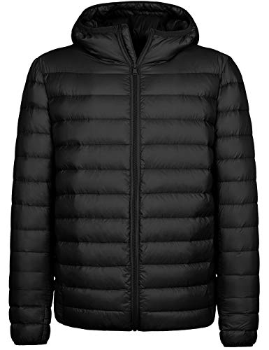Wantdo Men's Hooded Packable Down Jacket Lightweight Winter Puffer Coat