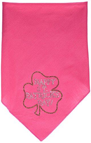 Mirage Pet Products Happy St. Patricks Day Rhinestone Bandana, Large, Bright Pink