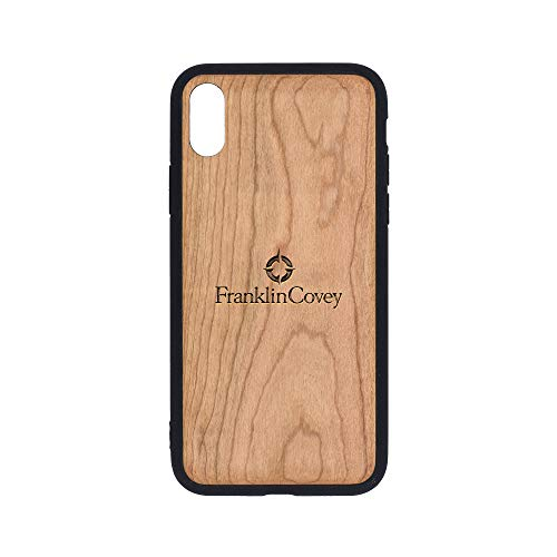 Logo Franklin Covey - iPhone Xs Case - Cherry Premium Slim & Lightweight Traveler Wooden Protective Phone Case - Unique, Stylish & Eco-Friendly - Designed for iPhone Xs